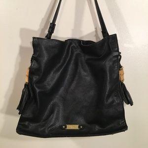 Olivia + Joy Faux Leather Double Tassel Hobo Bag